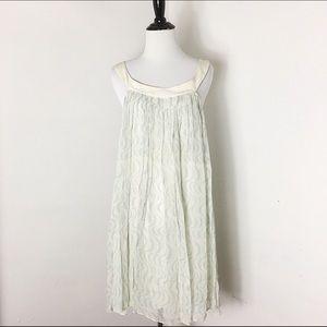 100% Silk Pleated Sleeveless Shift Dress